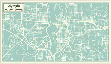 Olympia Washington USA City Map in Retro Style. Outline Map. Vector Illustration.