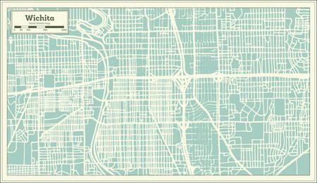 Wichita Kansas USA City Map in Retro Style. Outline Map. Vector Illustration. Illustration