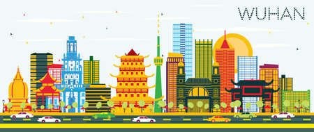 Wuhan China City Skyline with Color Buildings and Blue Sky. Vector Illustration. Business Travel and Tourism Concept with Modern Architecture. Wuhan Cityscape with Landmarks.