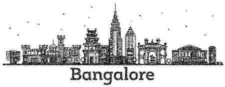 Engraved Bangalore India City Skyline with Black Buildings Isolated on White. Vector Illustration. Bangalore Cityscape with Landmarks. Illustration
