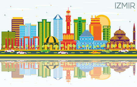 Izmir Turkey City skyline with colored buildings, blue sky and reflections vector illustration. Business travel and tourism concept with modern architecture. Izmir cityscape with landmarks. Illustration