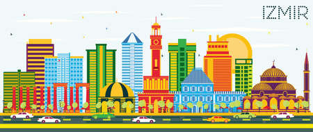 Izmir Turkey City skyline with colored buildings and blue sky vector illustration. Business travel and tourism concept with modern architecture. Izmir cityscape with landmarks.