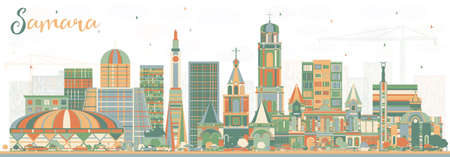 Samara Russia City Skyline with colored buildings vector illustration. Business travel and tourism concept with modern architecture. Samara cityscape with landmarks.