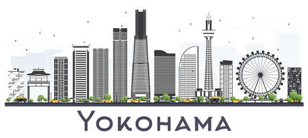 Yokohama Skyline with Color Buildings Isolated on White. Vector Illustration. Business Travel and Tourism Concept with Modern Architecture.