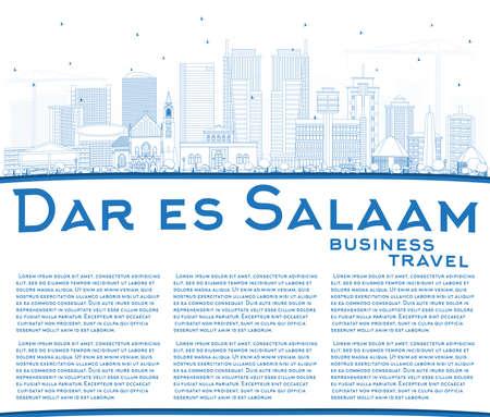 Outline Dar Es Salaam Tanzania City Skyline with Blue Buildings and Copy Space.