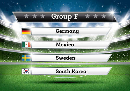 Football Championship Group F. Vector Illustration. Soccer World Tournament. Draw Result.