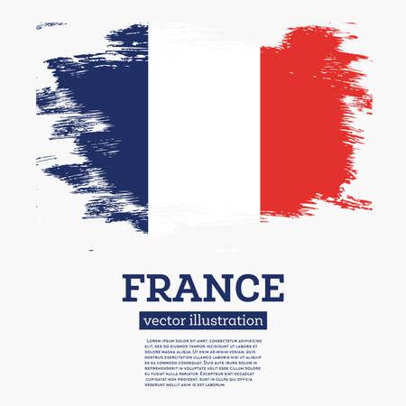Bandiera della Francia con pennellate. Illustrazione vettoriale
