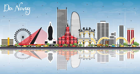 Da Nang Vietnam City Skyline with Color Buildings, Blue Sky and Reflections Vector Illustration.