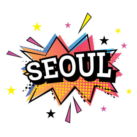 Seoul Comic Text in Pop Art Style Vector Illustration