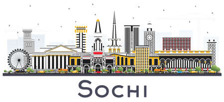 Sochi Russia City Skyline with Color Buildings Isolated on White Vector Illustration.