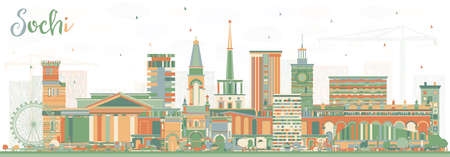 Sochi Russia City Skyline with Color Buildings Vector Illustration.