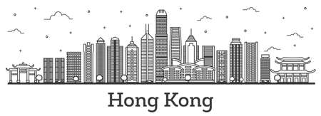 Outline Hong Kong China City Skyline with Modern Buildings Isolated on White. Vector Illustration. Hong Kong Cityscape with Landmarks. 矢量图像