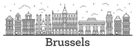 Outline Brussels Belgium City Skyline with Historic Buildings Isolated on White. Vector Illustration. Brussels Cityscape with Landmarks. Ilustração