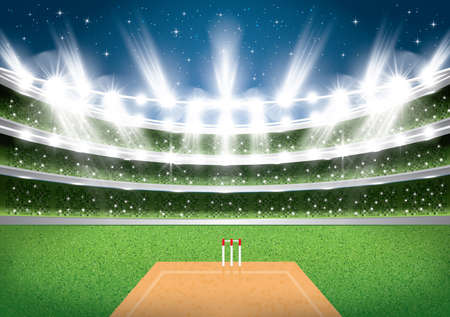 Cricket Stadium with Spotlights. Vector Illustration.