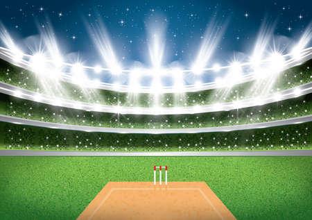 Cricket Stadium with Spotlights. Vector Illustration.