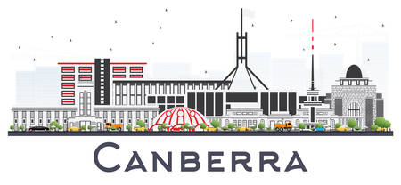 Canberra Australia City Skyline with Gray Buildings Isolated on White. Vector Illustration. Business Travel and Tourism Concept with Modern Architecture. Canberra Cityscape with Landmarks. Çizim