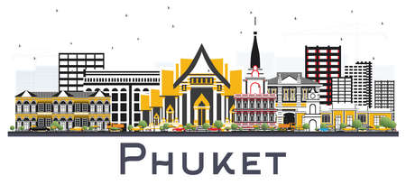 Phuket Thailand City Skyline with Color Buildings Isolated on White. Vector Illustration. Business Travel and Tourism Concept with Modern Architecture. Phuket Cityscape with Landmarks.