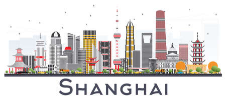 Shanghai China City Skyline with Color Buildings Isolated on White. Vector Illustration. Business Travel and Tourism Concept with Modern Architecture. Shanghai Cityscape with Landmarks.  イラスト・ベクター素材