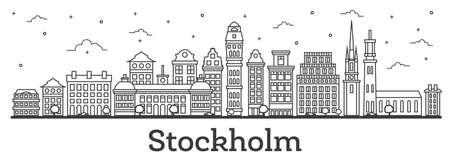 Outline Stockholm Sweden City Skyline with Historic Buildings Isolated on White. Vector Illustration. Stockholm Cityscape with Landmarks.