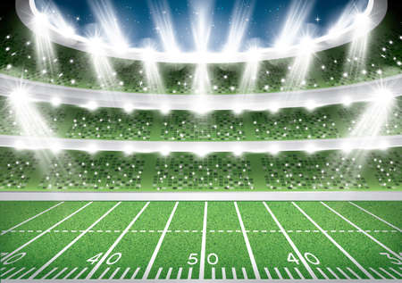 American Football Stadium Arena. Vector Illustration.