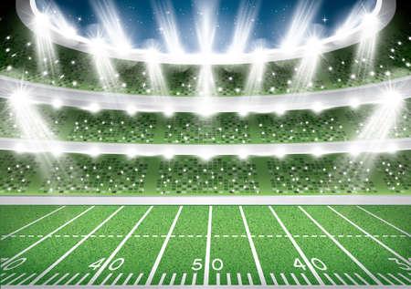 アメリカンフットボールスタジアムアリーナ。ベクトルイラストレーション。