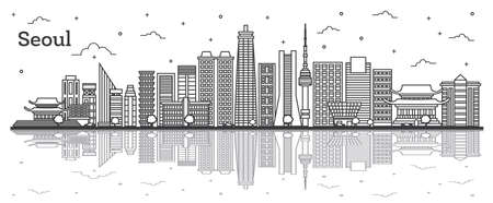Outline Seoul South Korea City Skyline with Modern Buildings and Reflections Isolated on White. Vector Illustration. Illustration
