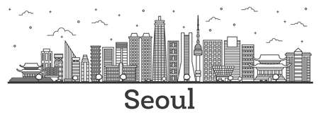 Outline Seoul South Korea City Skyline with Modern Buildings Isolated on White. Vector Illustration. Illustration