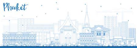 青い建物とプーケットタイシティスカイラインの概要。ベクトルイラストレーション。  イラスト・ベクター素材