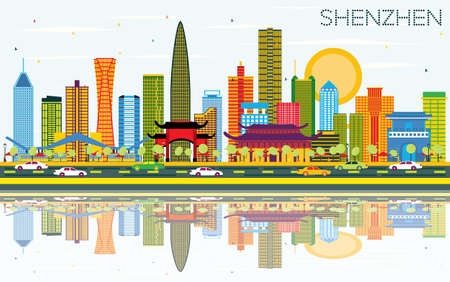 Shenzhen China City Skyline with Color Buildings, Blue Sky and Reflections. Vector Illustration. Ilustrace