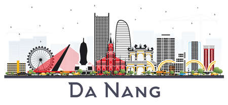 Da Nang Vietnam City Skyline with Color Buildings Isolated on White. Vector Illustration. Business Travel and Tourism Concept with Modern Architecture. Da Nang Cityscape with Landmarks.
