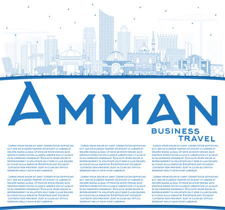 Outline Amman Jordan Skyline with Blue Buildings and Copy Space. Vector Illustration.