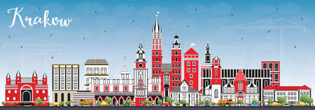 Krakow Poland City Skyline with Color Buildings and Blue Sky. Vector Illustration. Ilustração