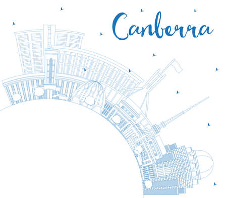 Outline Canberra Australia City Skyline with Blue Buildings and Copy Space. Vector Illustration. Business Travel and Tourism Concept with Modern Architecture. Canberra Cityscape with Landmarks. Illustration