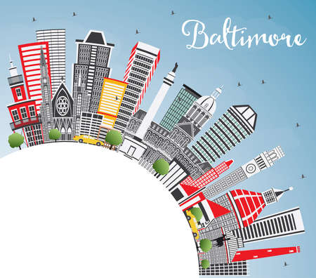 Baltimore Maryland USA City Skyline with Gray Buildings, Blue Sky and Copy Space. Vector Illustration. Business Travel and Tourism Concept with Modern Architecture. Baltimore Cityscape with Landmarks.