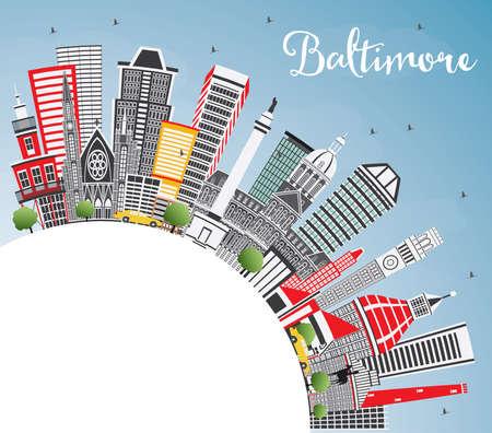 Baltimore Maryland USA Skyline der Stadt mit grauem Hintergrund . Blauer Himmel und Kopienraum . Vektor-Illustration . Geschäftsreise- und Tourismuskonzept . Modernes Stadtbild mit Stadtbild mit Sehenswürdigkeiten Standard-Bild - 98258849