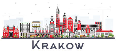 Krakow Poland City Skyline with Color Buildings Isolated on White. Vector Illustration. Business Travel and Tourism Concept with Historic Architecture. Krakow Cityscape with Landmarks.