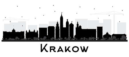 Krakow Poland City Skyline Silhouette with Black Buildings Isolated on White. Vector Illustration. Business Travel and Tourism Concept with Historic Architecture. Krakow Cityscape with Landmarks.