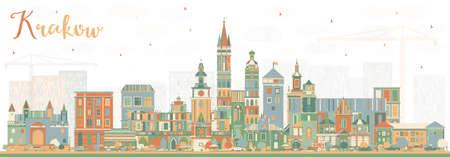 Cracovie toits de la ville de pologne avec des bâtiments de couleur. illustration vectorielle. voyage commercial et le concept de tourisme . paysage urbain avec des lumières urbaines avec des lieux Banque d'images - 98263044