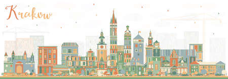 Krakow Poland City Skyline with Color Buildings. Vector Illustration. Business Travel and Tourism Concept with Historic Architecture. Krakow Cityscape with Landmarks. 向量圖像