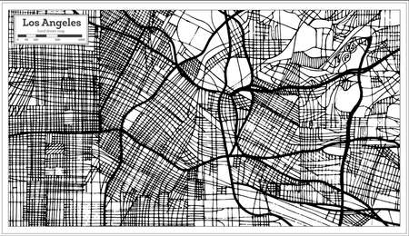 Los Angeles California USA City Map in Retro Style Black and White Color. Outline Map. Vector Illustration.
