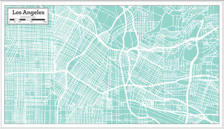 Los Angeles California USA City Map in Retro Style. Outline Map. Vector Illustration.