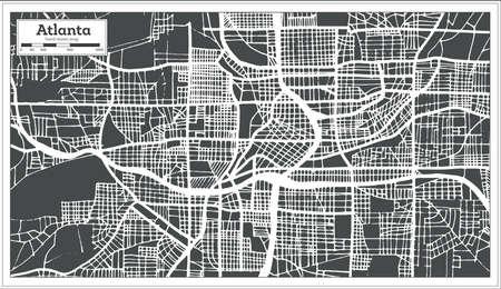 Atlanta Georgia USA City Map in Retro Style. Outline Map Vector Illustration.