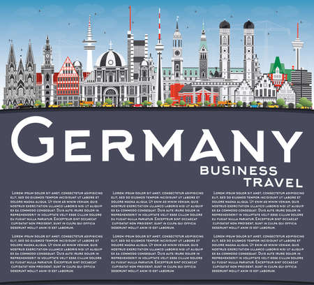 Germany City Skyline with Gray Buildings, Blue Sky and Copy Space. Vector Illustration. Business Travel and Tourism Concept with Historic Architecture. Germany Cityscape with Landmarks. Ilustração