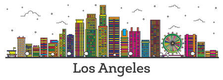 Outline Los Angeles California City Skyline with Color Buildings Isolated on White. Vector Illustration. Los Angeles Cityscape with Landmarks.