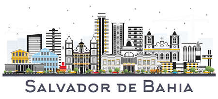 Horizonte de la ciudad de Salvador de Bahía con edificios de colores aislados en blanco. Ilustración vectorial Concepto de turismo y viajes de negocios con arquitectura histórica. Paisaje urbano de Salvador de Bahía con hitos.