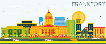 Frankfort Kentucky USA City Skyline with Color Buildings and Blue Sky. Vector Illustration. Business Travel and Tourism Concept with Modern Architecture. Frankfort Cityscape with Landmarks.