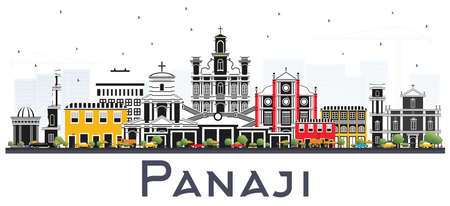 Panaji India City Skyline with Color Buildings Isolated on White. Vector Illustration. Business Travel and Tourism Concept with Historic Architecture. Panaji Cityscape with Landmarks. Illustration
