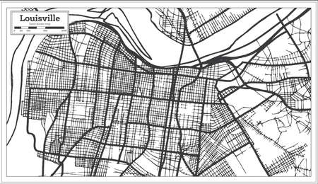 Louisville Kentucky USA City Map in Retro Style. Outline Map. Vector Illustration.