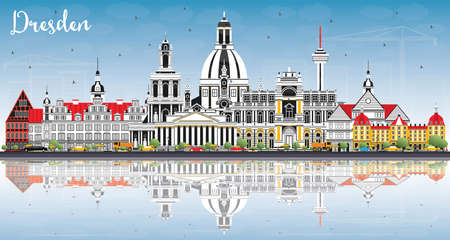 Dresden Germany City Skyline with Color Buildings, Blue Sky and Reflections. Vector Illustration. Business Travel and Tourism Concept with Historic Architecture. Dresden Cityscape with Landmarks. Illustration