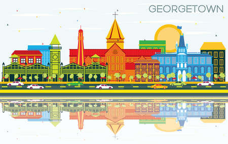Georgetown City Skyline with Color Buildings, Blue Sky and Reflections. Vector Illustration. Business Travel and Tourism Concept with Modern Architecture. Georgetown Cityscape with Landmarks. Illustration